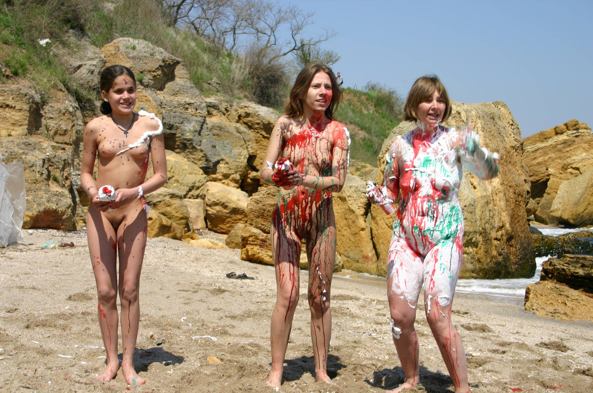 Nudist Photos Beach Paint Fight Initiation - 1