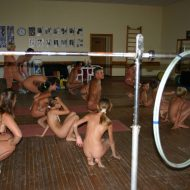 Family Gym Nudist Stretch
