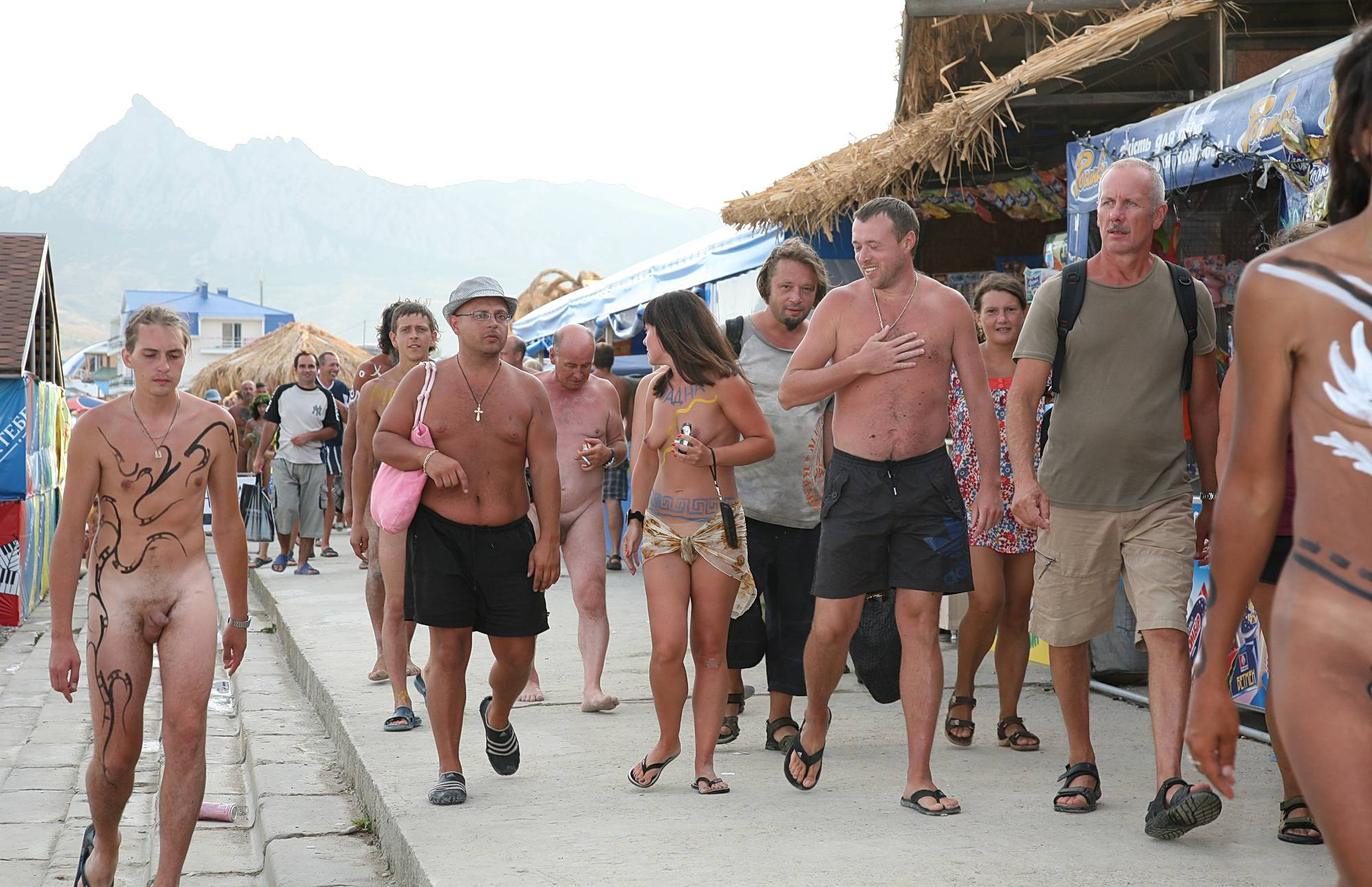 Nudist Gallery Marching Down The Street - 1