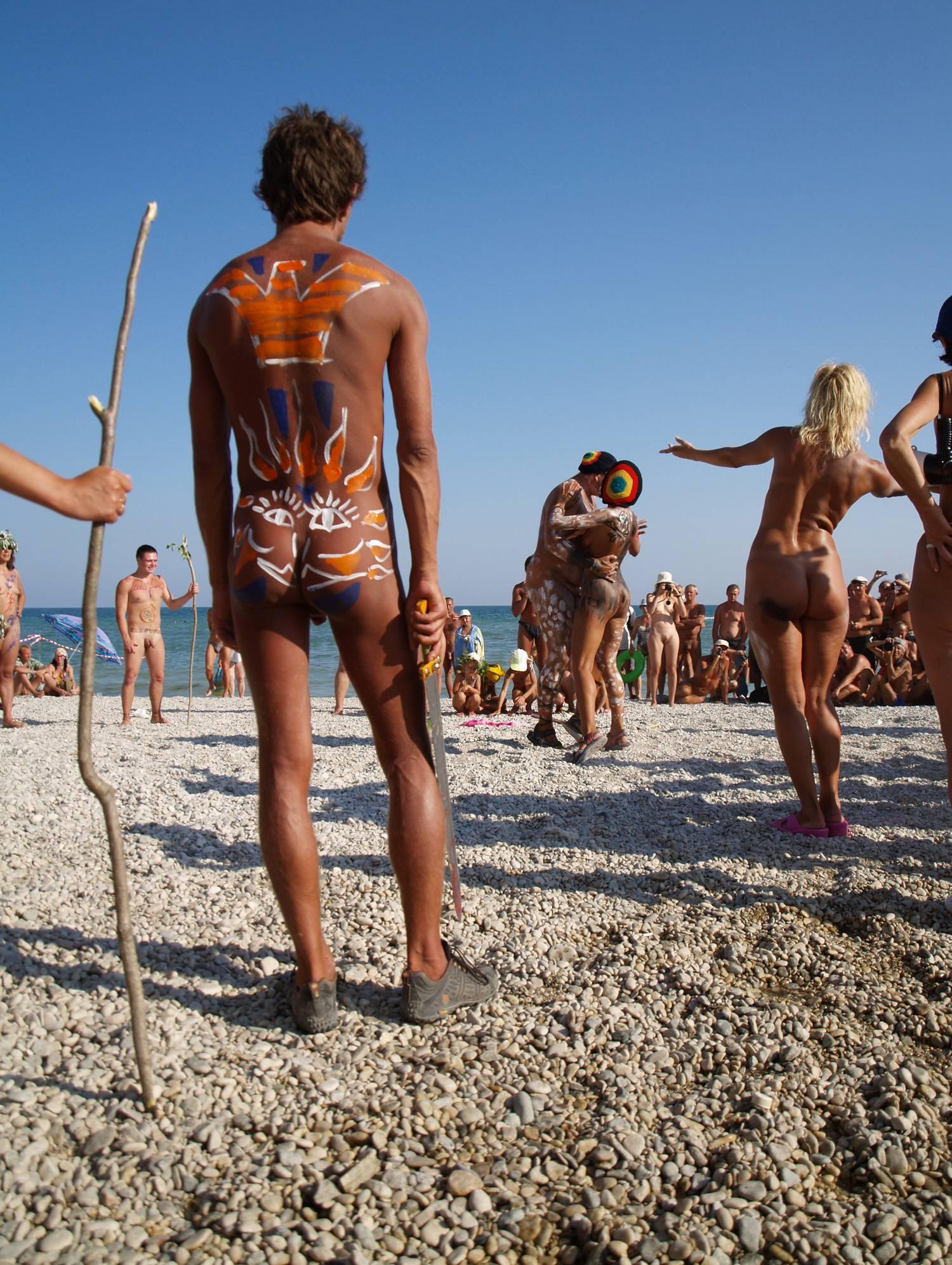 Nudist Event Host Dancing - 2