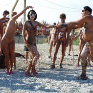 Nudist Event Host Dancing