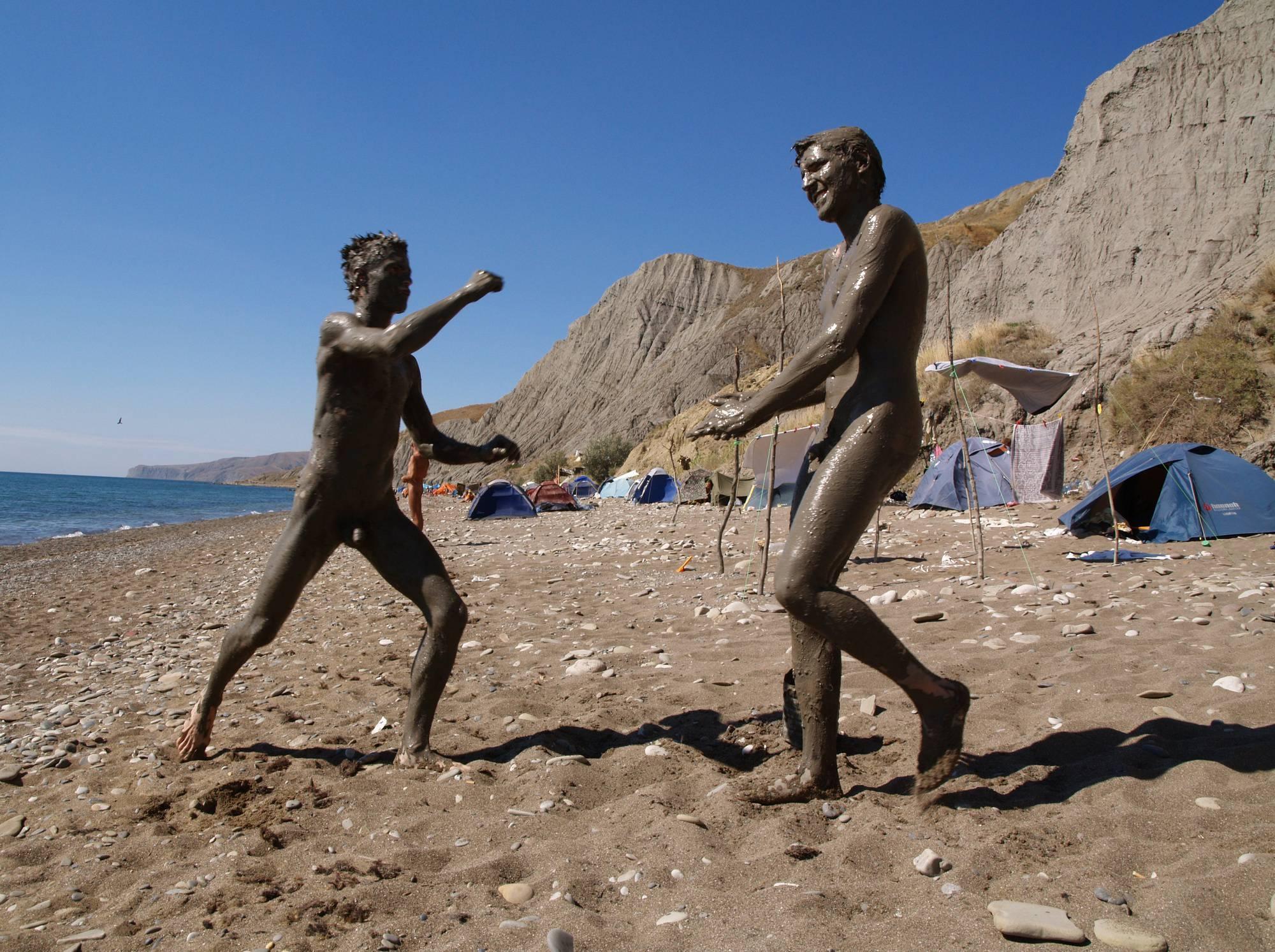 Nude Beach Mud Soldiers - 1